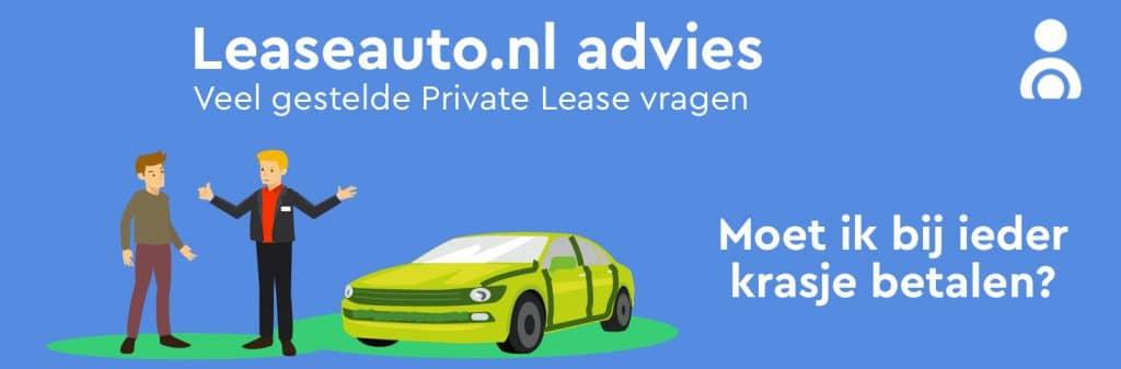 Moet ik bij ieder krasje op mijn private leaseauto betalen? Shade aan de leaseauto.