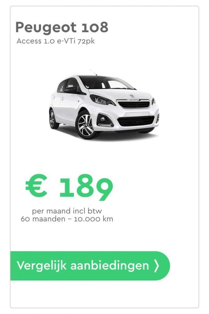Peugeot 108 private lease aanbieding