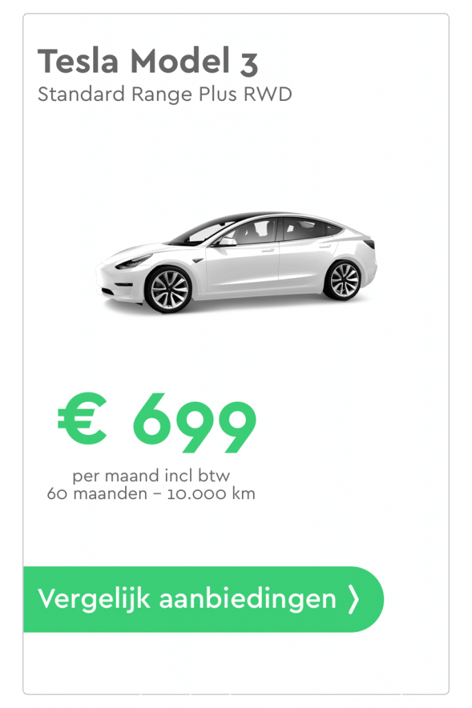 tesla model 3 private lease aanbieding