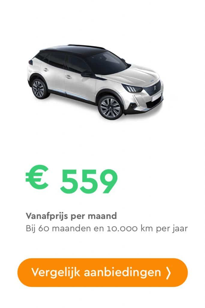 peugeot e-2008 private lease aanbieding
